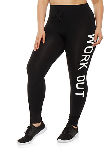 Plus Size Work Out Graphic Leggings,BLACK,large