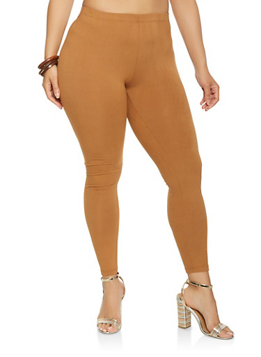 Plus Size Soft Knit Leggings,TAN,large