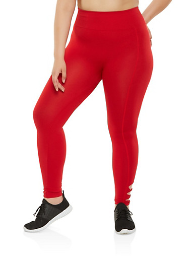 Plus Size Caged Detail Leggings,RED,large