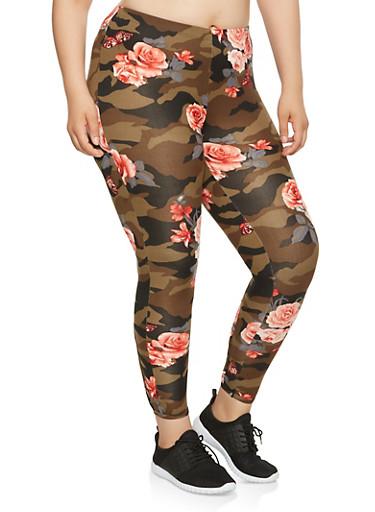 Plus Size Floral Camo Caged Leggings,OLIVE,large