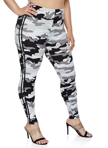Plus Size Camo Varsity Stripe Leggings | 3969001441626,BLACK/WHITE,large