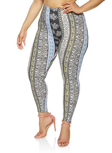 Plus Size Printed Soft Knit Leggings,BLACK,large