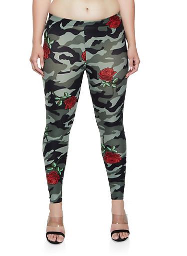 Plus Size Rose Print Camo Leggings,ROSE,large