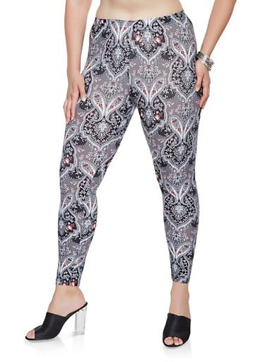 Plus Size Paisley Print Soft Knit Leggings,BLACK,large