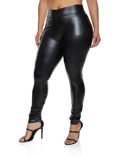 Plus Size Faux Leather Leggings | 3969001448545,BLACK,large