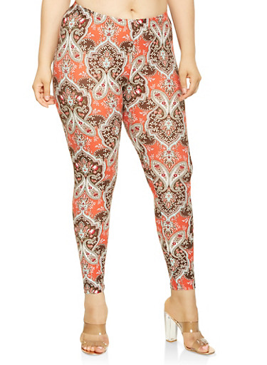Plus Size Paisley Print Soft Knit Leggings,RUST,large