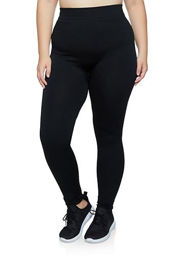 Plus Size Solid Fleece Lined Leggings,BLACK,large