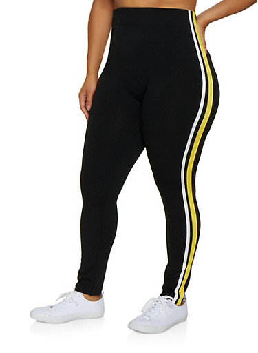 Plus Size Varsity Stripe Leggings   3969051064393,BLACK,large