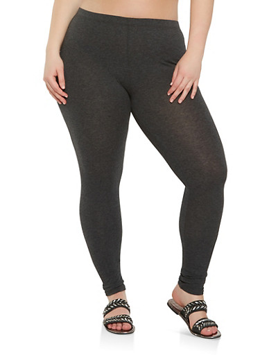 Plus Size Solid Leggings,CHARCOAL,large