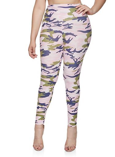 Plus Size Camo Soft Knit Leggings | 3969060583761,PINK,large