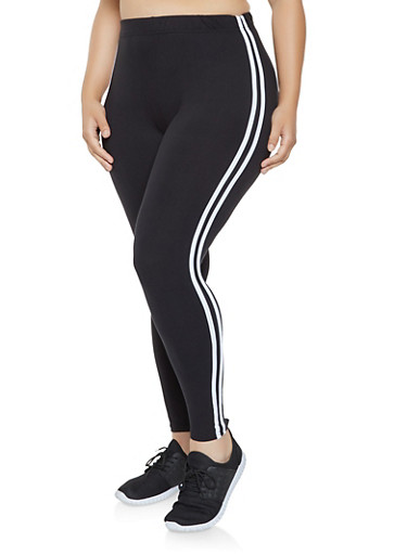 Plus Size Side Stripe Leggings,BLACK,large