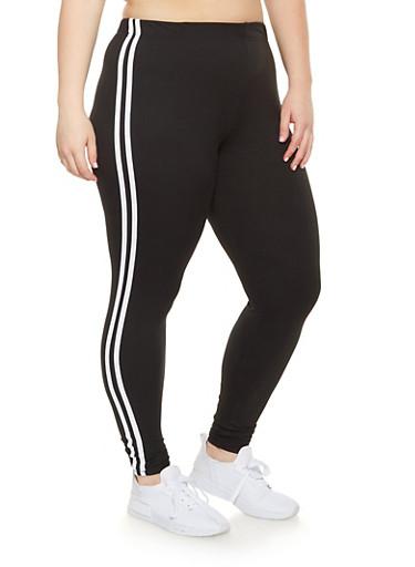 Plus Size Athletic Stripe Soft Knit Leggings,BLACK,large