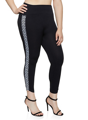 Plus Size Geometric Tape Leggings,BLACK,large