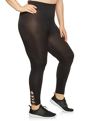 Plus Size Caged Leggings,BLACK,large