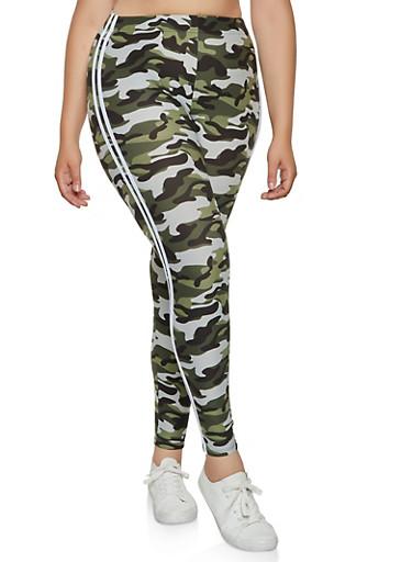 Plus Size Varsity Stripe Camo Leggings | 3969061639187,GRAY,large