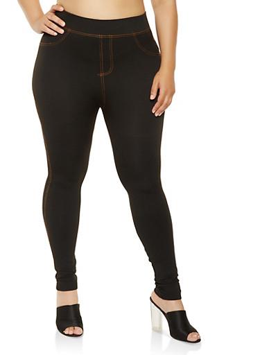 Plus Size Denim Knit Leggings,BLACK,large