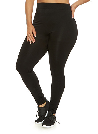 Plus Size Solid Push Up Leggings,BLACK,large