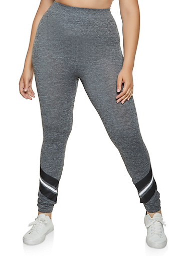 Plus Size Striped Ankle Detail Leggings | 3969062900325,GRAY,large