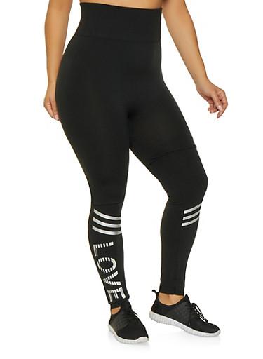 Plus Size Love Graphic Leggings,BLACK,large