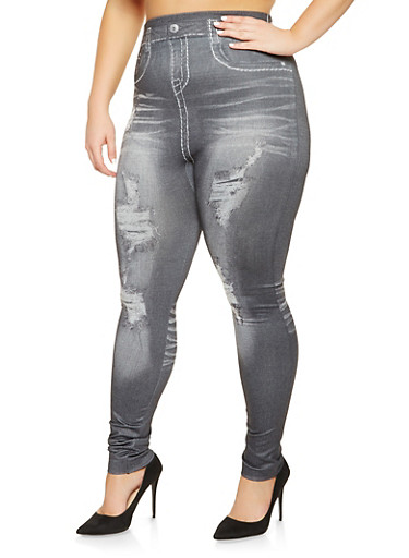 Plus Size Denim Print Leggings,BLACK,large