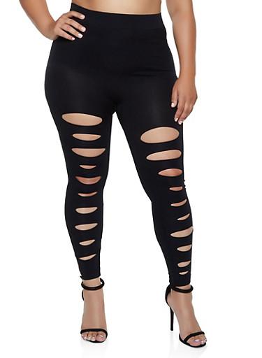 Plus Size Slashed Detail Leggings,BLACK,large