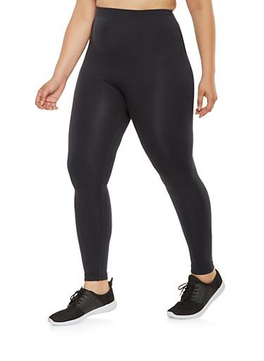 Plus Size Solid Active Leggings,BLACK,large