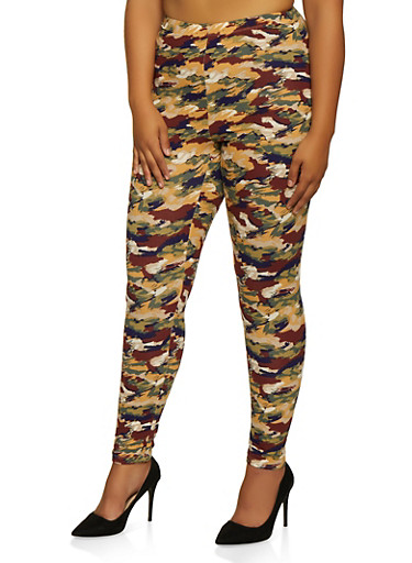 Plus Size Abstract Camo Leggings,BROWN,large