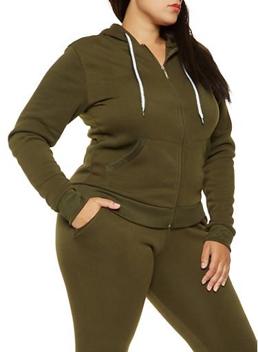 Plus Size Zip Up Sweatshirt,OLIVE,large