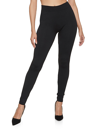 Solid French Terry Leggings,BLACK,large