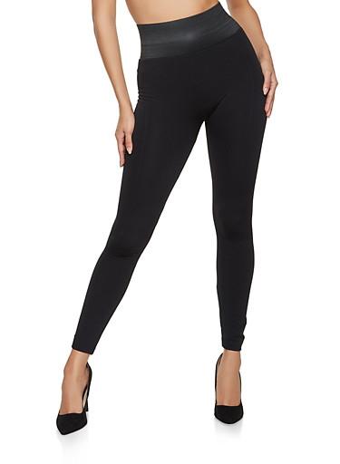 Fleece Lined Elastic Waist Leggings,BLACK,large