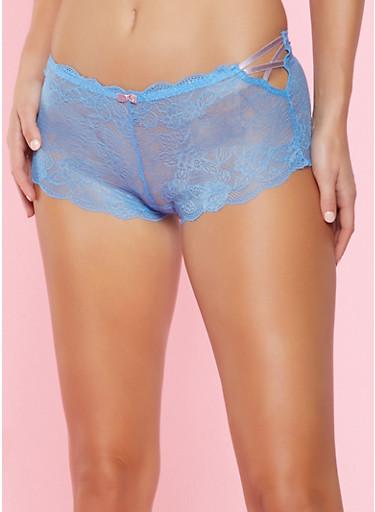 Caged Lace Boyshort Panty,BABY BLUE,large