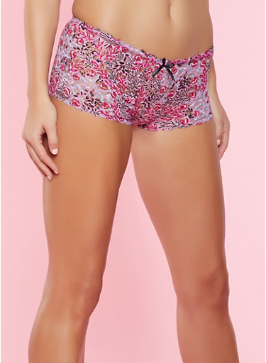 Printed Lace Boyshort Panty,PURPLE,large