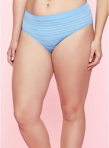 Plus Size Striped Seamless Bikini Panty,BABY BLUE,large