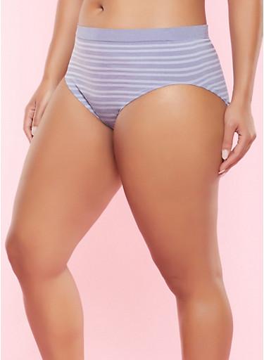 Plus Size Striped Seamless Bikini Panty,CHAMBRAY,large