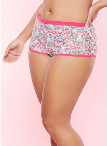 Plus Size Floral Lace Panty,PINK,large