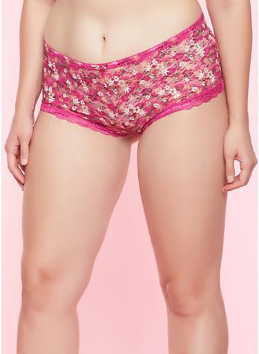 Plus Size Floral Lace Boyshort Panty,MAGENTA,large
