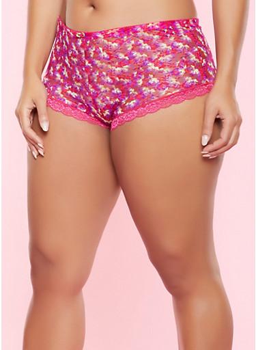 Plus Size Floral Lace Boyshort Panty,PINK,large
