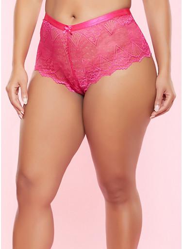 Plus Size Lace Boyshort Panty,PINK,large