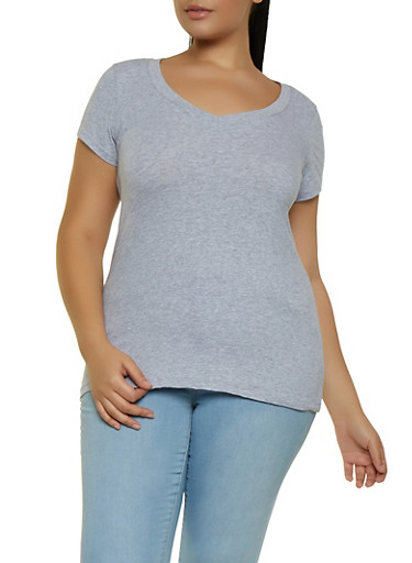 Plus Size V Neck Top | 5242054265000,HEATHER,large