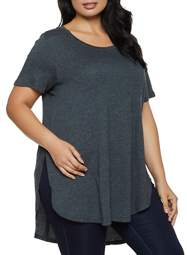 Plus Size Oversized Scoop Neck Tee,CHARCOAL,large