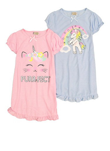 Girls 2 Pack Purrfect Graphic Nightgowns,BABY BLUE,large
