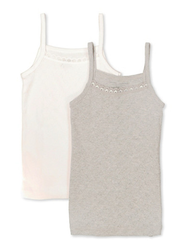Girls 4-16 Pack of Two Lace Trim Camis,GRAY,large