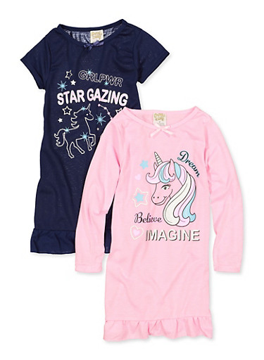 Girls 4-16 2 Pack Unicorn Graphic Nightgowns,MULTI COLOR,large