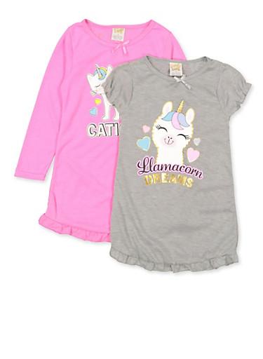 Girls 4-16 Unicorn Animal Nightgown Set,MULTI COLOR,large