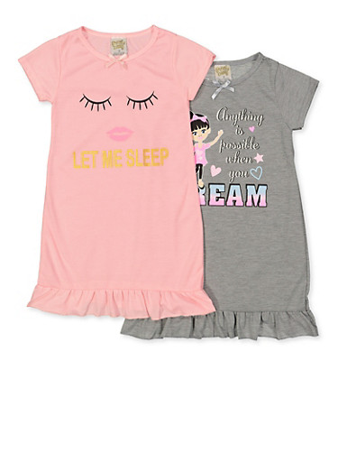 Girls 4-16 Set of Two Graphic Nightgowns,MULTI COLOR,large
