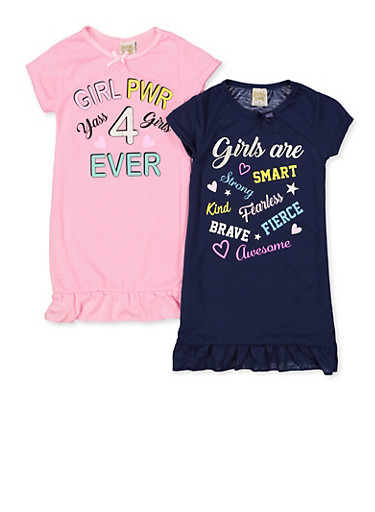 Girls 4-14 Set of 2 Girl Pwr Nightgowns,MULTI COLOR,large