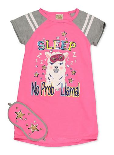 Girls 4-16 No Prob Llama Nightgown with Sleep Mask,FUCHSIA,large