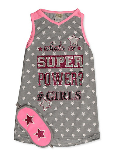Girls 4-16 Super Powers Nightgown with Sleep Mask,GRAY,large