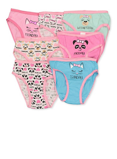 Girls 4-6x 7 Pack Animal Day of the Week Panties,MULTI COLOR,large