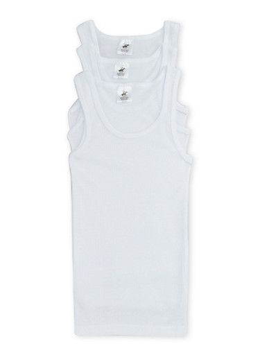 Boys 4-18 Ribbed Tank Top Three Pack,WHITE,large